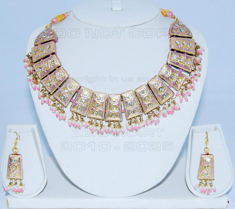 Pink Necklace - Pink Color Necklace Set With Matching Earrings