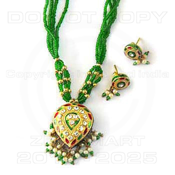 Green Pendant - Green Color Pendant Set With Matching Earrings