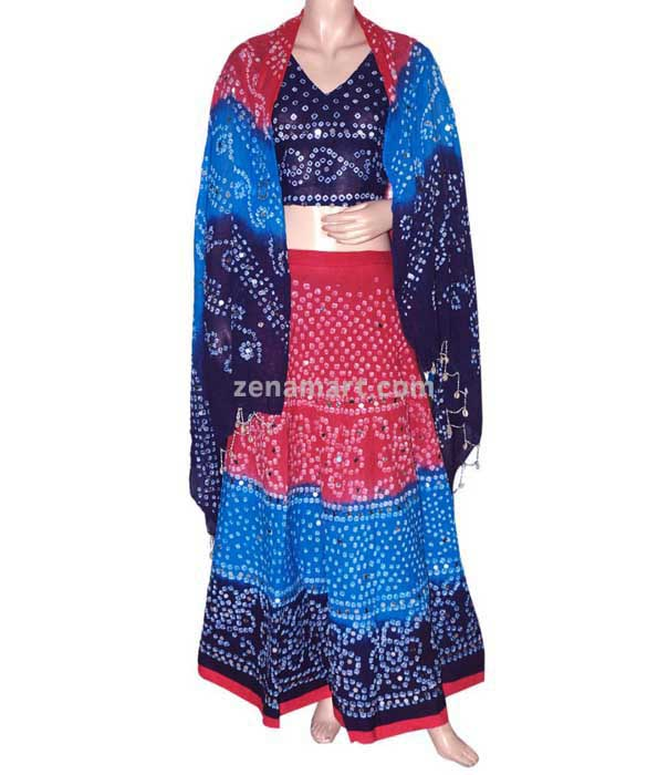 Womens 100% Cotton Clothing - Bandhej Lehenga Choli Manufacturer