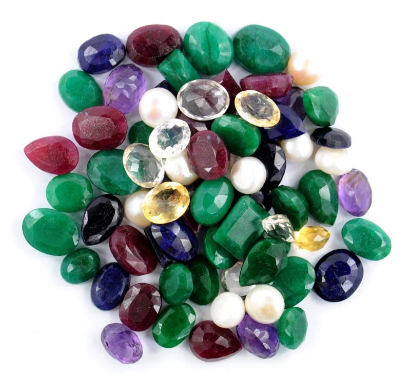 Amethyst, Green Emerald, Citrine, Ruby, Pearl, Blue Sapphire Mix Gemstones Lot