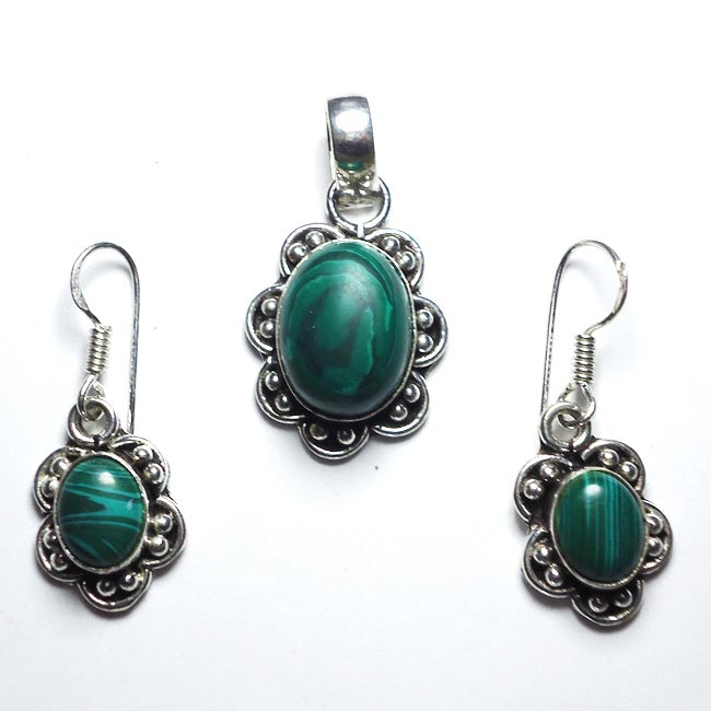 Malachite Gemstone Pendant Earrings Set