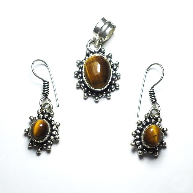 Tiger Eye Gemstone Pendant Earrings Set